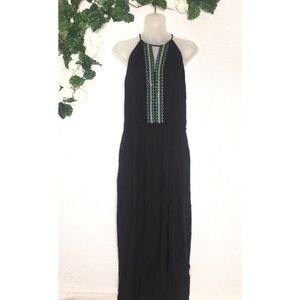 Chelsea & Violet Black Embroidered Boho Maxi Dress